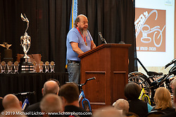 Custom bike builder and artist Ron Finch at the Sturgis Motorcycle Museum & Hall of Fame Induction Breakfast at the Lodge at Deadwood during the Sturgis Black Hills Motorcycle Rally. SD, USA. Wednesday, August 7, 2019. Photography ©2019 Michael Lichter.