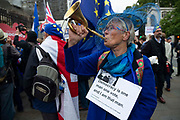 A remain campaigner outside the Houses of Parliament on 9th September 2019 in London, United Kingdom. Prime Minister Boris Johnson is tabling another motion to seek a general election.