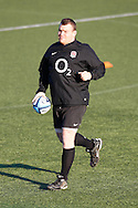 Picture by Andrew Tobin/Focus Images Ltd. 07710 761829.. 2/2/12. Matt Stevens in action during the England team training session held for the first time at Surrey Sports Park, Guildford, UK, before their 6-Nations game against Scotland