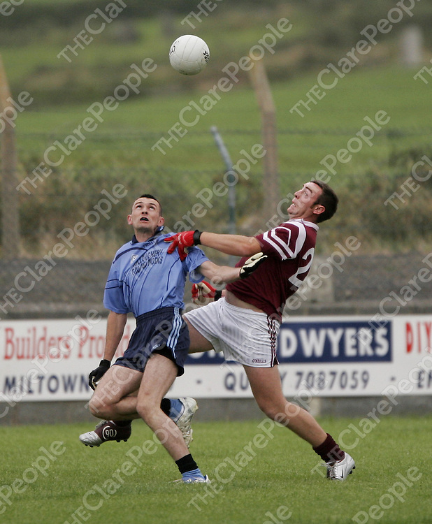 St. Breckans John McDonagh and Kildysart's Niall Ginnane go for a high ball in Quilty at the weekend.<br /> <br /> Photograph by Yvonne Vaughan.