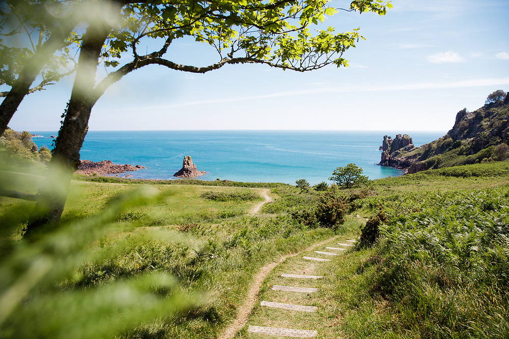 View through the trees down a winding grass path to the turquoise, calm clear water at Beauport beach, perfect for paddle boarding and kayaking in Jersey, Channel Islands