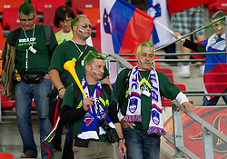 Dissapointed fans of Slovenia after the 2010 FIFA World Cup South Africa Group C Third Round match between Slovenia and England on June 23, 2010 at Nelson Mandela Bay Stadium, Port Elizabeth, South Africa.  (Photo by Vid Ponikvar / Sportida)
