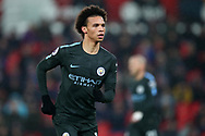 Leroy Sane of Manchester City looks on. Premier league match, Stoke City v Manchester City at the Bet365 Stadium in Stoke on Trent, Staffs on Monday12th March 2018.<br /> pic by Andrew Orchard, Andrew Orchard sports photography.