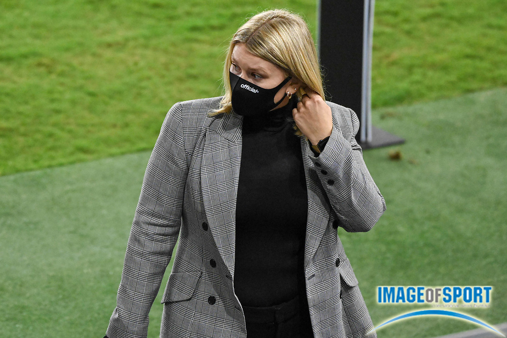 LAFC Manager of Communications Aubrey Freckman walks on the field after a MLS soccer game, Sunday, Sept. 27, 2020, in Los Angeles. The San Jose Earthquakes defeated LAFC 2-1.(Dylan Stewart/Image of Sport)