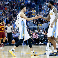 22 March 2017: Denver Nuggets guard Jamal Murray (27) celebrates with Denver Nuggets guard Will Barton (5) during the Denver Nuggets 126-113 victory over the Cleveland Cavaliers, at the Pepsi Center, Denver, Colorado, USA.