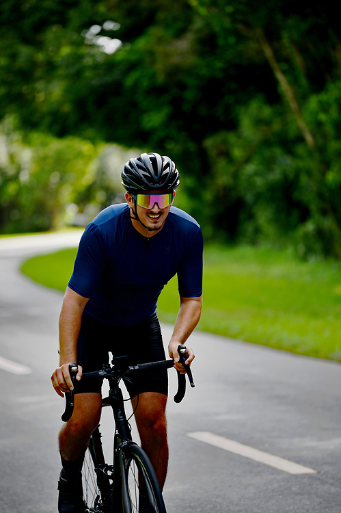 Cyclist riding a road bicycle on a nice road