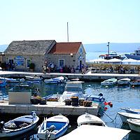 View of the harbour from the Gallery, Branislav Deskovic, Brac Bol art gallery,<br />Bol, Brac, Croatia.