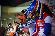 #311 (GRUEN Melanie) FRA looks straight at the camera at the 2014 UCI BMX Supercross World Cup in Manchester.