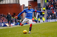 Rangers Captain James Tavernier (C) during the Ladbrokes Scottish Premiership match between Rangers and Kilmarnock at Ibrox, Glasgow, Scotland on 16 March 2019.