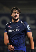 Sale Sharks Lood De Jager made his debut during a Gallagher Premiership Rugby Union match won by Sharks 39-0, Friday, Mar. 6, 2020, in Eccles, United Kingdom. (Steve Flynn/Image of Sport)