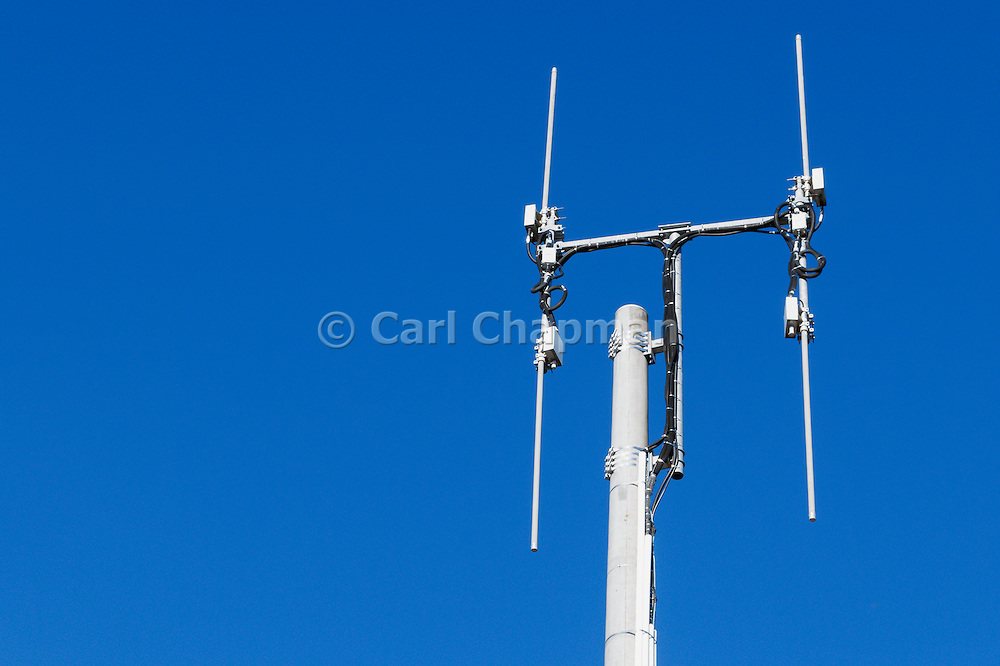 Omni directional rural cell base station antennas on a monopole tower for the mobile telephone system at Cann River, Victoria. <br /> <br /> Editions:- Open Edition Print / Stock Image