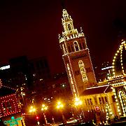 Giralda Tower and Plaza Lights in Kansas City at nightfall.