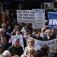 The banners spoke volumes during the hospital protest rally in Ennis on Satruday.<br /> Photograph by Yvonne Vaughan