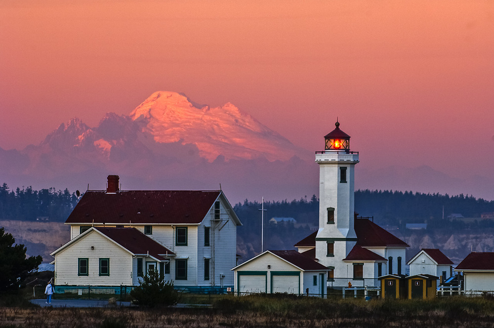 Point Wilson Light House with Whidbey Island and Mount Baker in the distance, evening light, October, Fort Worden State Park, Jefferson County, Port Townsend, Washington, USA