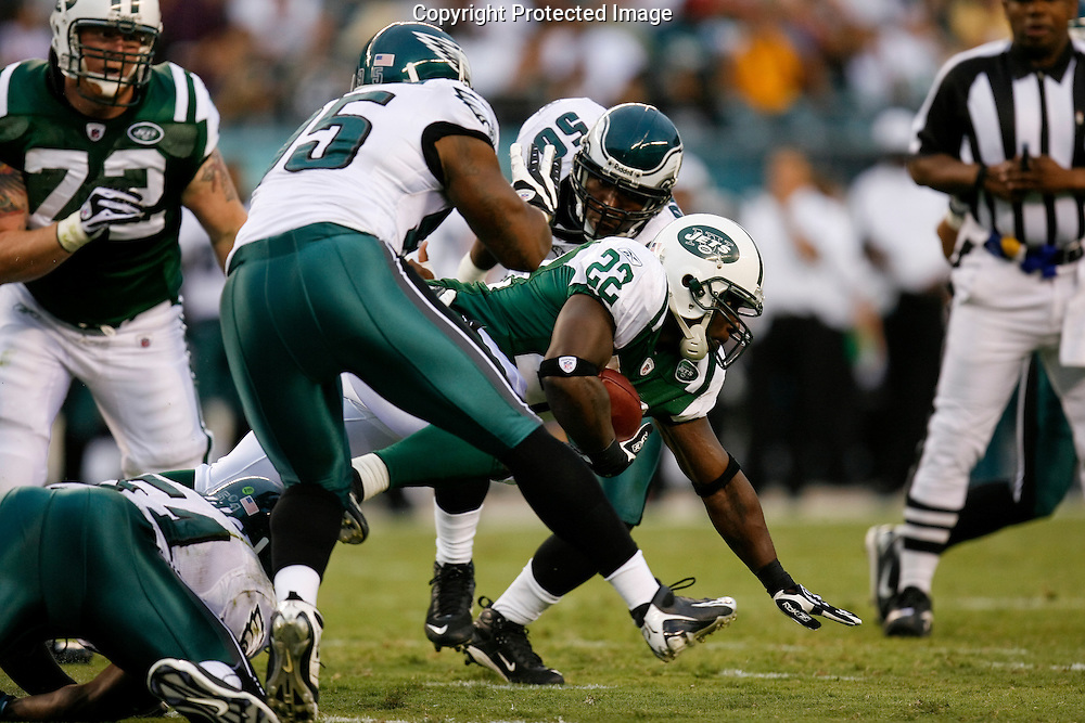 28 August 2008: New York Jets running back Jesse Chatman #22 reaches for a few extra yards as he is brought down during the game against the Philadelphia Eagles on August 28, 2008. The Jets beat the Eagles 27 to 20 at Lincoln Financial Field in Phialdelphia, Pennsylvania.