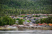 Logging camp site along the Inside Passage, Alaska, USA