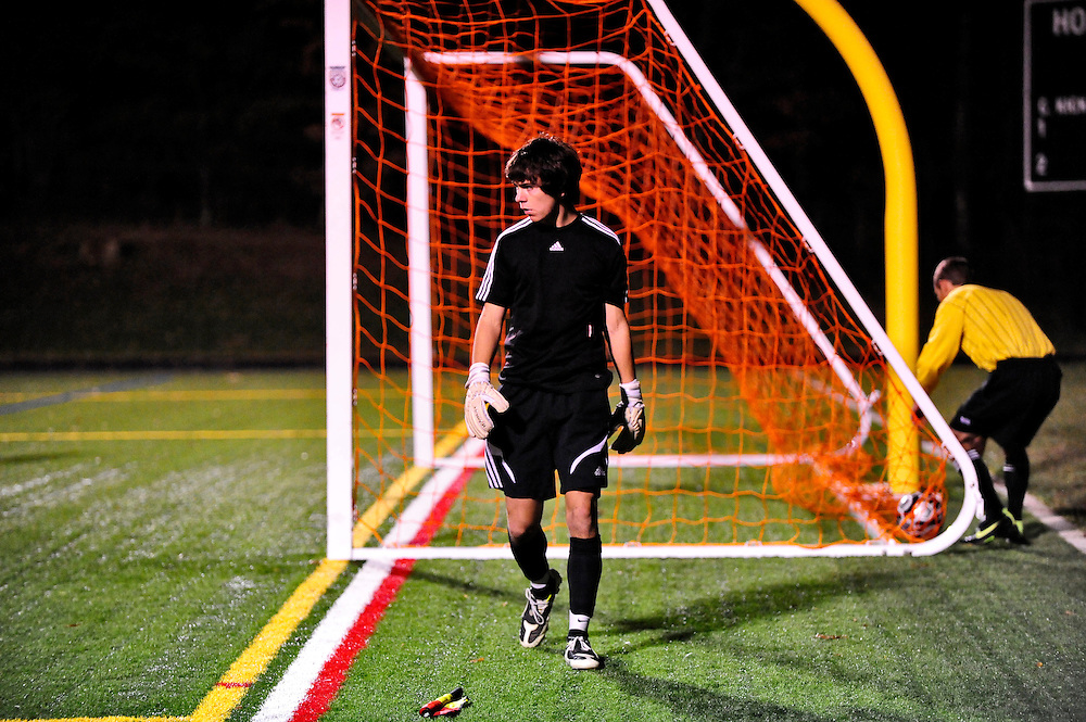 (staff photo by Matt Roth)..Atholton goalie Kyle Forbes was put to the test after a scoreless game including two overtime periods and a tie after the first round of 5 penalty kicks. Hereford's seventh kick would clench the Bull's win, defeating Atholton during the class 3A State Semifinals Saturday, November 14, 2009 at CCBC Essex Stadium.