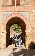 Moorish architecture of the Puerta del Vino archway, Alhambra complex, Granada, Spain