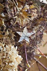 Hydrangea seedheads wreath. Hydrangea petiolaris, Hydrangea macrophylla 'Madame Emile Mouillère', Eryngium giganteum and silver birch stars with hair string fairy lights