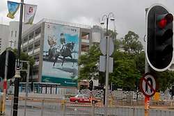 Anky siert de reklameborden in Hong Kong met Salinero<br /> Olympic Games Hong Kong 2008<br /> Photo © Dirk Caremans - Hippo Foto