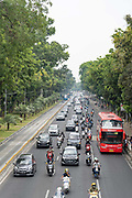 Jakarta traffic on the 2nd November 2019 in Java in Indonesia.