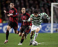 Photo: Paul Thomas.<br /> Glasgow Celtic v AC Milan. UEFA Champions League. Last 16, 1st Leg. 20/02/2007.<br /> <br /> Shunsuke Nakamura (R) of Celtic evades Andrea Pirlo (21) and Yoann Gourcuff.