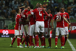 April 22, 2017 - Lisbon, Portugal - Benfica players celebrating their goal during the Portuguese League  football match between Sporting CP and SL Benfica at Jose Alvalade  Stadium in Lisbon on April 22, 2017. (Credit Image: © Carlos Costa/NurPhoto via ZUMA Press)