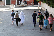 bride and groom on there way to there wedding Venice Italy