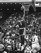 Dec 30, 1992; Orlando, Florida, USA; Anthony Peeler(1) of the Los Angeles Lakers drives for a basket against the Orlando Magic at the Orlando Arena.  The Lakers won 96-93.