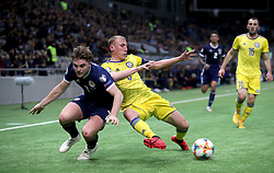 Scotland's James Forrest (left) and Kazakhstan's Islambek Kuat during the UEFA Euro 2020 Qualifying, Group I match at the Astana Arena.