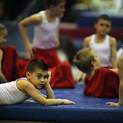 Young male gymnasts wait for competition during the 21st American Invitational 2014 competition at the XL Centre. Hartford, Connecticut, USA. USA. 31st January 2014. Photo Tim Clayton