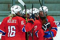 BILDET INNGÅR IKEK I FASTAVTALER. ALL NEDLASTING BLIR FAKTURERT.<br /> <br /> Ishockey<br /> VM kvinner<br /> Norge<br /> Foto: imago/Digitalsport<br /> NORWAY ONLY<br /> <br /> DK, IIHF WW DivIa, France (FRA) vs Denmark (DK) 31.03.2016, Gigantium, Aalborg, DK, IIHF WW DivIa, France (FRA) vs Denmark (DK), im Bild: Silje Holøs (Norway 16), Lene Tendenes (Norway 2), Madelen Haug Hansen (Norway 21) and Mathea Fischer (Norway 24) are celebrating the victory for Norway