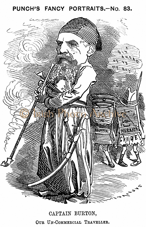 Richard Francis Burton (1821-1890) English orientalist and explorer. Cartoon by Edward Linley Sambourne for 'Punch', London, 13 May 1882, showing Burton in the eastern dress he adopted on his travels. Figures on right represent Murray and Baedeker guide books. Wood engraving.