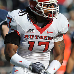 Oct 31, 2009; East Hartford, CT, USA; Rutgers linebacker Damaso Munoz (17) celebrates defensive stop during first half Big East NCAA football action between Rutgers and Connecticut at Rentschler Field.