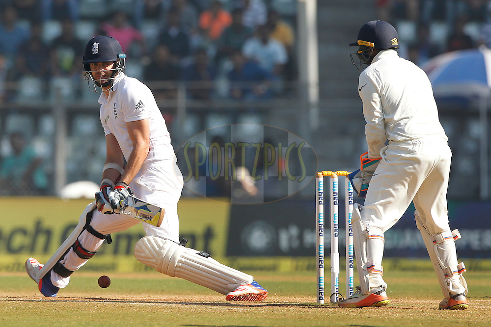 James Anderson of England bats during day 5 of the fourth test match between India and England held at the Wankhede Stadium, Mumbai on the 12th December 2016.<br /> <br /> Photo by: Deepak Malik/ BCCI/ SPORTZPICS