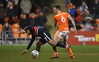 Blackpool's Ben Heneghan battles with Doncaster Rovers' Mallik Wilks<br /> <br /> Photographer Dave Howarth/CameraSport<br /> <br /> The EFL Sky Bet League One - Blackpool v Doncaster Rovers - Tuesday 12th March 2019 - Bloomfield Road - Blackpool<br /> <br /> World Copyright © 2019 CameraSport. All rights reserved. 43 Linden Ave. Countesthorpe. Leicester. England. LE8 5PG - Tel: +44 (0) 116 277 4147 - admin@camerasport.com - www.camerasport.com