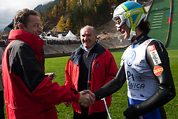 Ziga Turk, Minister for Education, Science, Culture and Sports and Primoz Peterka, first jumper on the small hill, during Slovenian summer national championship and opening of the reconstructed Bloudek's hill in Planica on October 14, 2012 in Planica, Ratece, Slovenia. (Photo by Grega Valancic / Sportida)