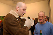 Jake Chapman and Max friedman, Opening of Carl Freidman's Counter Editions, Charlotte Rd. 11 March 2003. © Copyright Photograph by Dafydd Jones 66 Stockwell Park Rd. London SW9 0DA Tel 020 7733 0108 www.dafjones.com