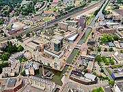 Nederland, Overijssel, Gemeente Almelo; 21–06-2020; Overzicht centrum Almelo met Haven Noordzijde en NS station. Stadhuis in de voorgrond. <br /> Overview of the center of Almelo with harbor North side and railway station. Town Hall in the foreground.<br /> <br /> luchtfoto (toeslag op standaard tarieven);<br /> aerial photo (additional fee required)<br /> copyright © 2020 foto/photo Siebe Swart