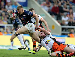 Leeds Rhino's Tom Briscoe sprints toward the try line during the Betfred Super League, Magic Weekend match at St James' Park, Newcastle.