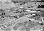 """Ackroyd 05604-4. """"Electro Metallurgical. aerials of plant. October 18, 1954"""" (near old Oregon Shipyard site in St. Johns, at the foot of Bugard)"""