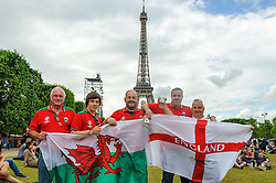 Wales and England fans mixing together and having some friendly banter at the Paris Fanzone. Images from the UEFA EURO 2016, 14 June 2016 in Fan Zone. (c) Paul Roberts   Edinburgh Elite media. All Rights Reserved