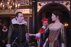 """© Licensed to London News Pictures. 14 January 2014. London, England. L-R: DAVID DAWSON as Ferdinand, JAMES GARNON as Cardinal and GEMMA ARTERTON as The Duchess. Actress Gemma Arterton stars as the Duchess in the play """"The Duchess of Malfi"""" by John Webster. This is the first production to take place at the Sam Wanamaker Playhouse at the Globe Theatre. The performance is only lit by candles. Directed by Dominic Dromgoole. Photo credit: Bettina Strenske/LNP"""