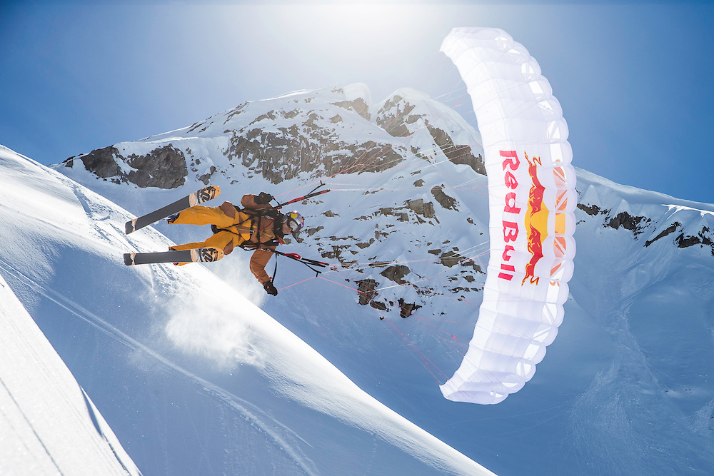 Jon Devore catches air while filming for the Unrideables in the Tordrillo Mountains near Anchorage, Alaska on April 27th, 2014.