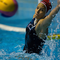 Goalkeeper Flora Bolonyai of Hungary falls to save a goal during the women waterpolo friendly match of Hungary and China in Budapest, Hungary on June 25, 2012. ATTILA VOLGYI