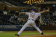Durham Bulls pitcher Mike Franco (36) delivers a pitch during the MiLB International Championship baseball game against the Columbus Clippers, Thursday, September 12, 2019, in Durham, N.C. The Clippers beat the Bulls 6-2 to complete a three-game sweep of the two-time defending champion. (Brian Villanueva/Image of Sport)