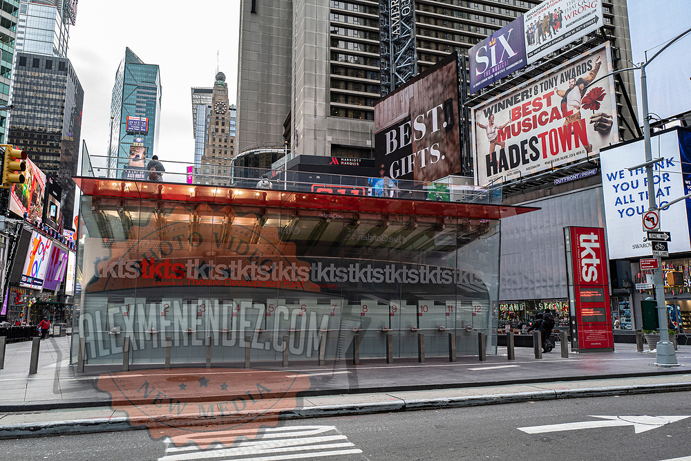 The TKTS ticket counter in Times Square remains closed during the holiday season with Coronavirus (Covid-19) outbreak in Manhattan, New York on Tuesday, December 8, 2020. (Alex Menendez via AP)