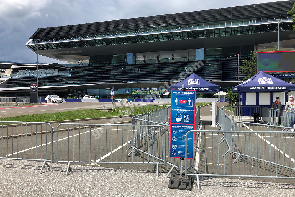 Closed off circuit gates before the 2020 Austrian Grand Prix at the Red Bull Ring in Spielberg. Photo: Grand Prix Photo