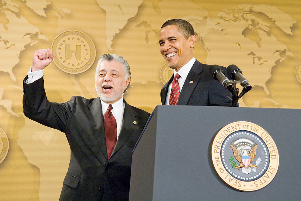 President Barack Obama greets the United States Hispanic Chamber of Commerce's 19th Annual Legislative Conference, in Washington, DC, withDavid C. Lizárraga, Chairman, USHCC Board of Directors, Tuesday, March 10, 2009..