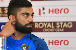 July 20, 2017 - Colombo, Sri Lanka - Indian cricket captain Virat Kohli reacts during  a press conference at Colombo, Sri Lanka on Thursday 20 July 2017...India will play 3 test matches, 5 ODI matches and a T20 match against Sri Lanka from  26 th July  onwards. (Credit Image: © Tharaka Basnayaka/NurPhoto via ZUMA Press)